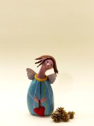 Angelo azzurro grande in ceramica