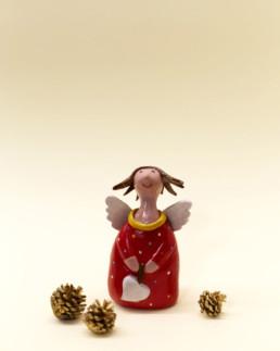 Angelo rosso piccolo in ceramica