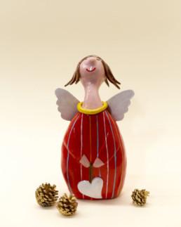 Angelo rosso grande in ceramica