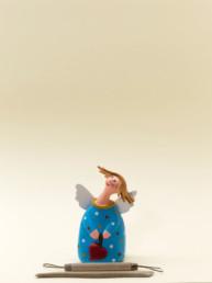 Angelo azzurro piccolo in terracotta