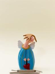 Angelo azzurro grande in terracotta