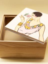Scatola in legno dipinto (foto in rosa): 20x20cm h10,5cm