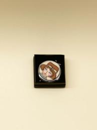 Specchietto da borsetta con decoro in legno dipinto